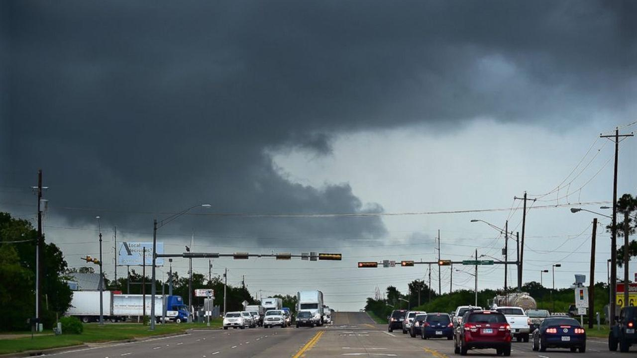 Ominous low-hanging clouds accompanied a thunderstorm from the outer bands of Tropical Storm Bill that was already reaching north Texas as this cell passed over East University Drive Tuesday, June 16, 2015, in Denton, Texas.