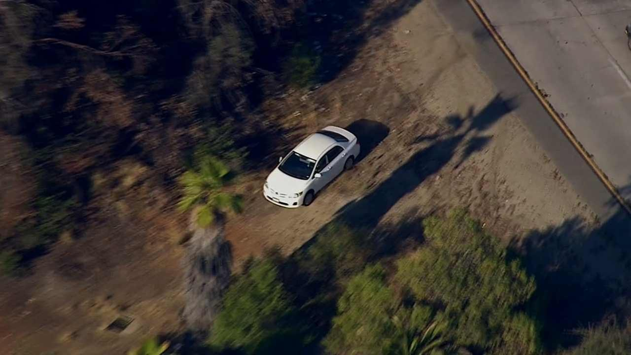 A grand theft auto suspect made an audacious drive over a dirt embankment from the 134 Freeway during a high-speed chase Wednesday, June 17, 2015.