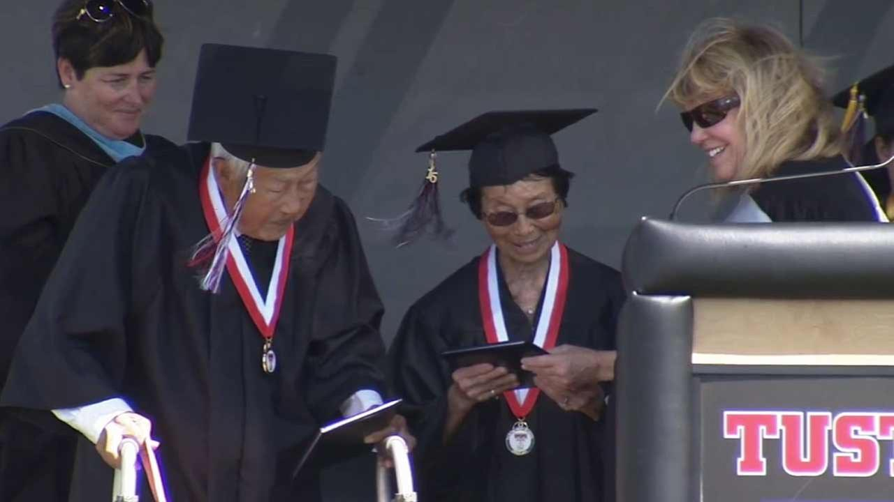 George and Miko Kaihara walked across the stage in Tustin Thursday, June 18, 2015 and received their long overdue diplomas.