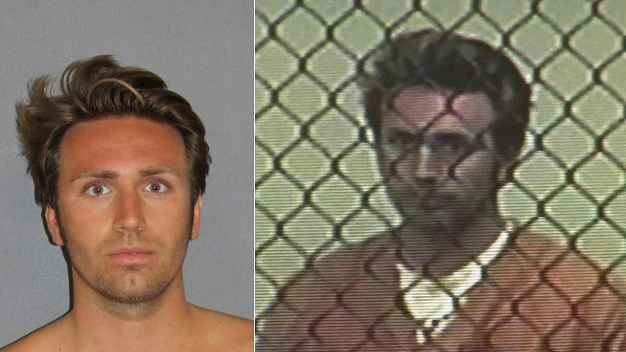 Alec Abraham is seen in this booking photo from the Irvine Police Department (left). Abraham appears in a Santa Ana court to face hit-run charges on Monday, June 15, 2015 (right).