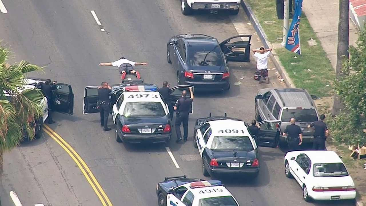 Two suspects were taken into custody near Avalon Boulevard and 84th Street in the Florence area of South Los Angeles Friday, June 26, 2015.