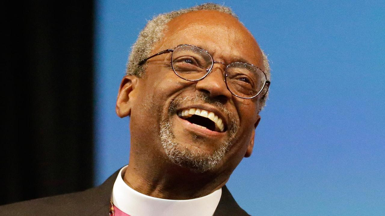Bishop Michael Curry of North Carolina, smiles after being elected the Episcopal Churchs first African-American presiding bishop on Saturday, June 27, 2015.