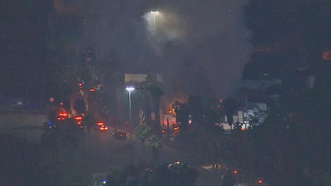 A scrap yard fire was burning at 1816 Hancock Street in Lincoln Heights at 8:15 p.m. Tuesday, May 27, 2014.