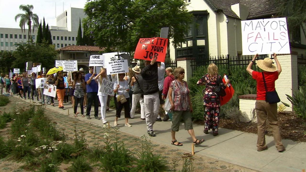 Animal rights activists protested in front of Los Angeles Mayor Eric Garcettis home in Hancock Park on Sunday, June 28, 2015.