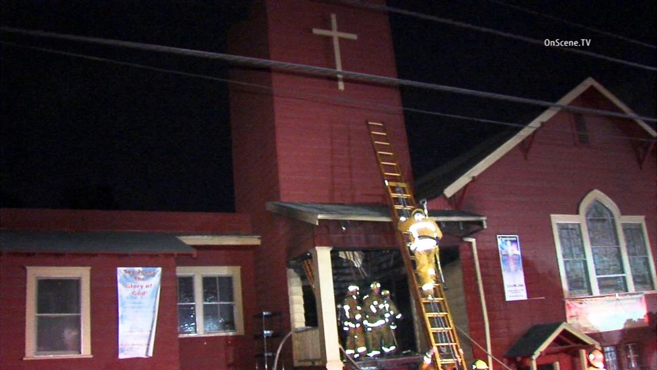 A church in Echo Park sustained damage following a fire on Monday, June 29, 2015.
