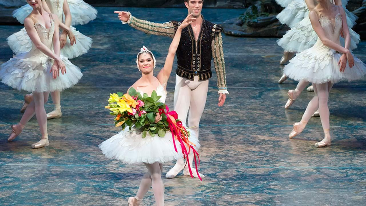 This photo provided by American Ballet Theater, Misty Copeland and James Whiteside appear in Swan Lake at the Metropolitan Opera House on June 24, 2015.