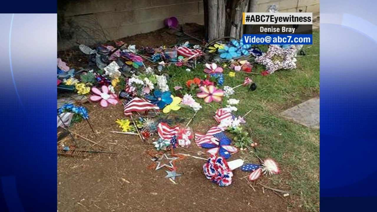 The removal of American flags and patriotic mementos from dozens of grave sites at a cemetery in La Verne has sparked outrage from several people with loved ones buried there.
