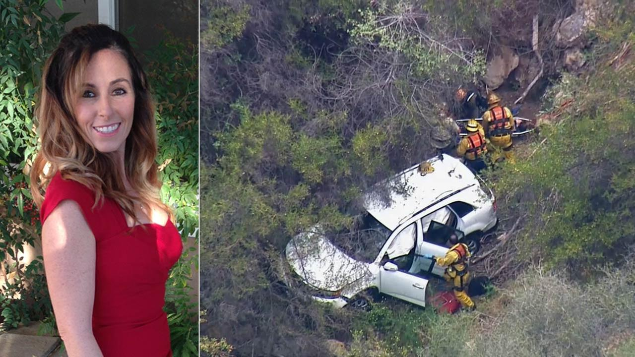 A motorist, identified as 40-year-old Jenifer Duron, was rescued after her car was found off the side of a cliff in Malibu on Wednesday, July 1, 2015.