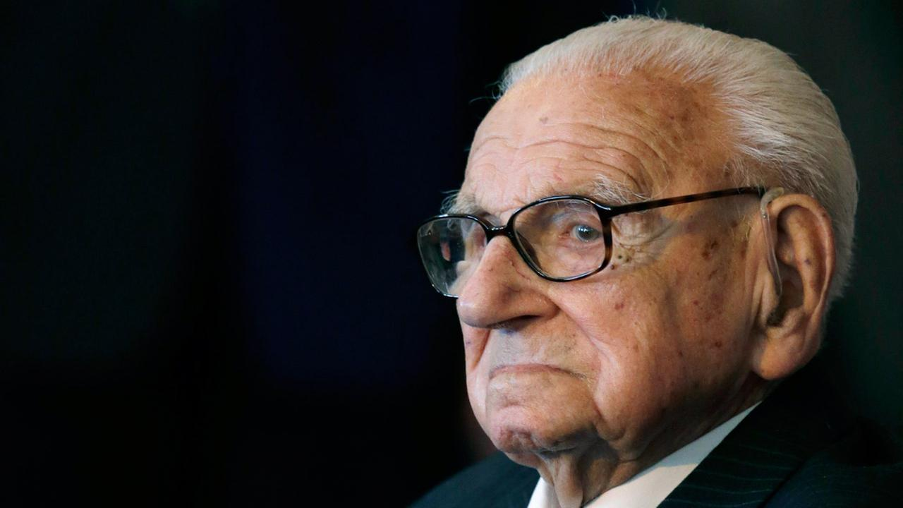 A Tuesday, Oct. 28, 2014 photo of the then 105 year-old Sir Nicholas Winton waiting to be decorated with the highest Czech Republics decoration in Prague, Czech Republic.