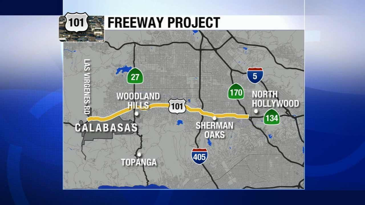 Caltrans is gearing up for a 24-mile asphalt repaving project on the 101 Freeway, stretching from Las Virgenes Road in Calabasas to the 170/134 interchange in Studio City.