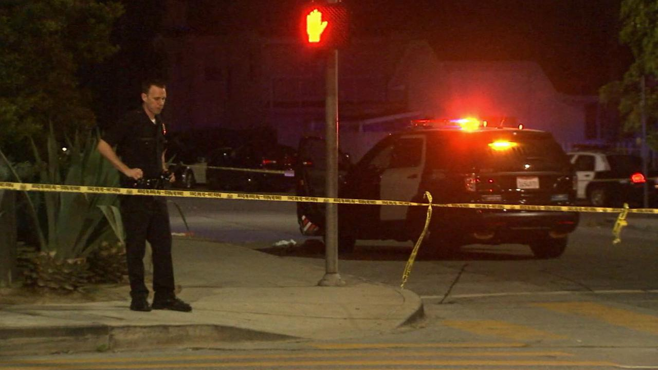 Los Angeles police investigate a fatal stabbing in Eagle Rock on Saturday, July 4, 2015.
