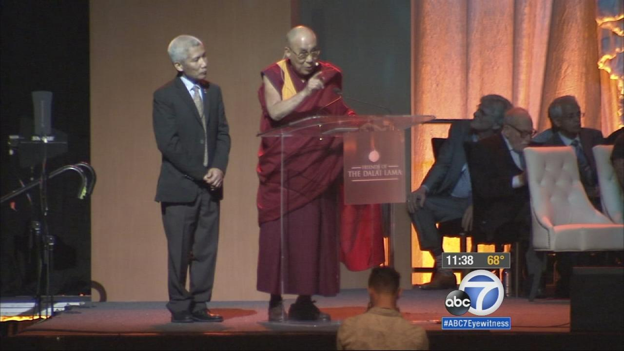 The Dalai Lama spoke about climate change at UC Irvine on Monday, which marks the spiritual leaders 80th birthday.