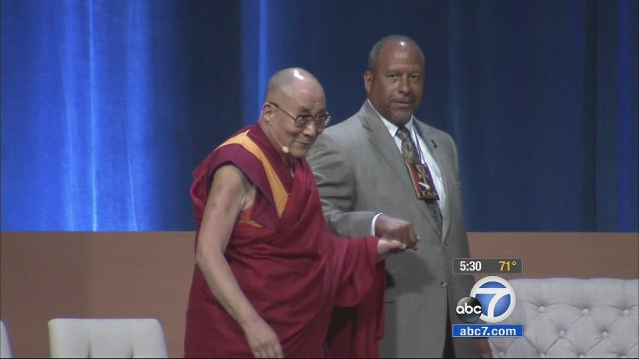 The Dalai Lama spoke about climate change at UC Irvine on Monday, July 6, 2015 which marks the spiritual leaders 80th birthday.