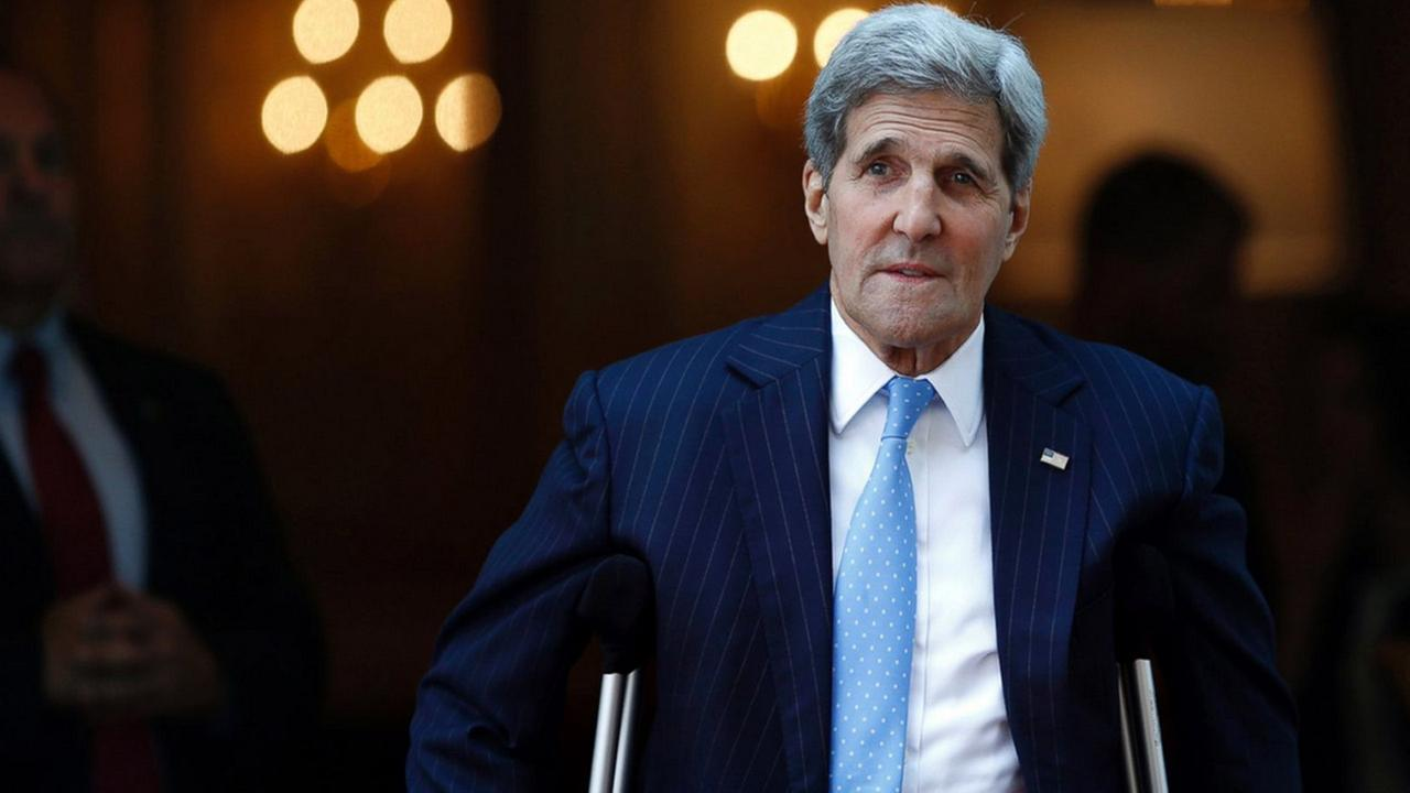 U.S. Secretary of State John Kerry leaves his hotel on the way to mass at the St. Stephens Cathedral in Vienna, Austria, Sunday July 12, 2015.