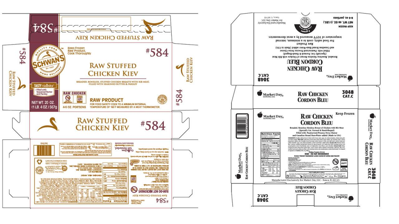 The U.S. Department of Agriculture says Illinois-based Aspen Foods is recalling nearly 2 million pounds of raw, frozen chicken products over concerns they might be contaminated with salmonella.