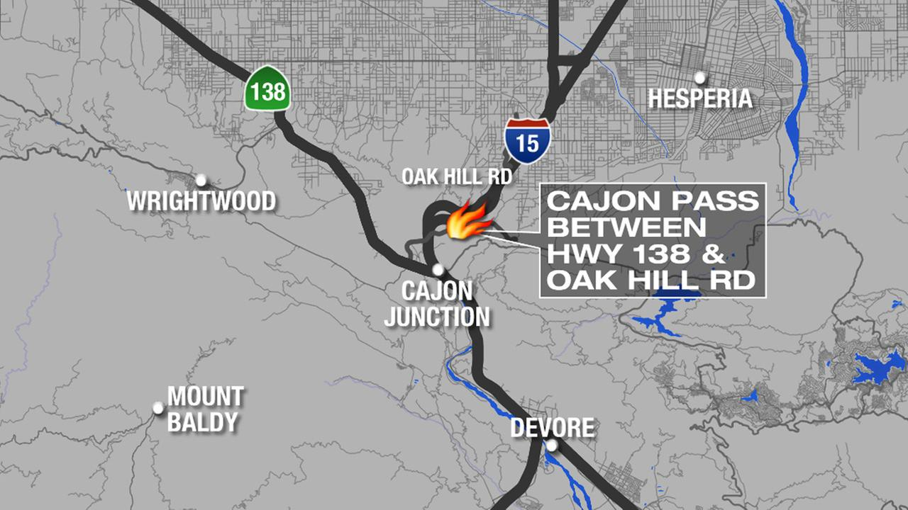 This map shows where the North Fire broke out in the Cajon Pass between Highway 138 and Oak Hill Road on Friday, July 17, 2015.
