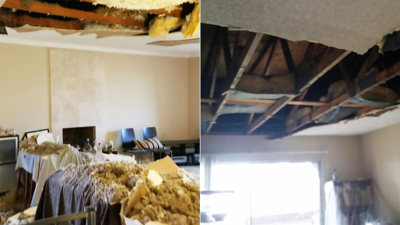 The heavy rain caused severe damage to Eleanor Dematteos apartment at the Casa Del Sol Apartments in Huntington Beach.