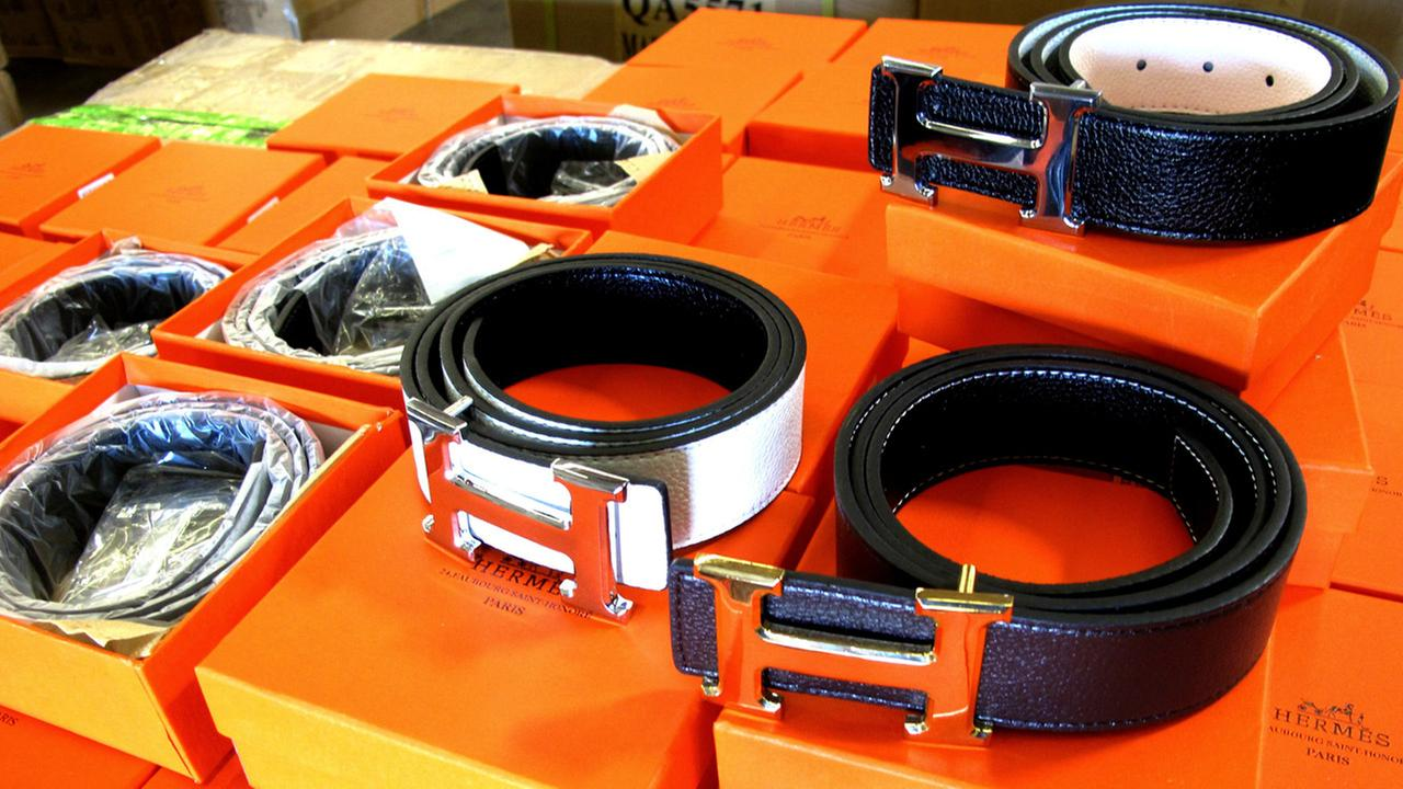 Some of the counterfeit Hermes belts seized by U.S. Customers and Border Protection officers are shown in an undated photo.