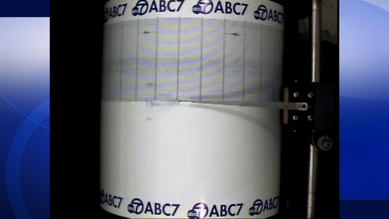 A preliminary 4.3-magnitude earthquake was captured on the ABC7 quake cam on Saturday, July 25, 2015.