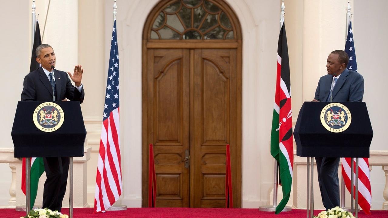 President Barack Obama and Kenyas President Uhuru Kenyatta answer questions from the media after meeting in the State House in Nairobi, Kenya Saturday, July 25, 2015.