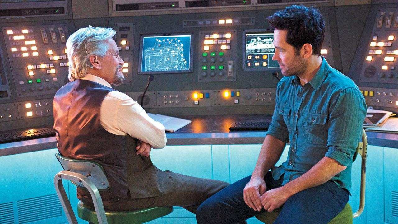 Michael Douglas, left, who plays Hank Pym, is shown in a scene from Marvels Ant-Man with Paul Rudd, who plays Scott Lang.