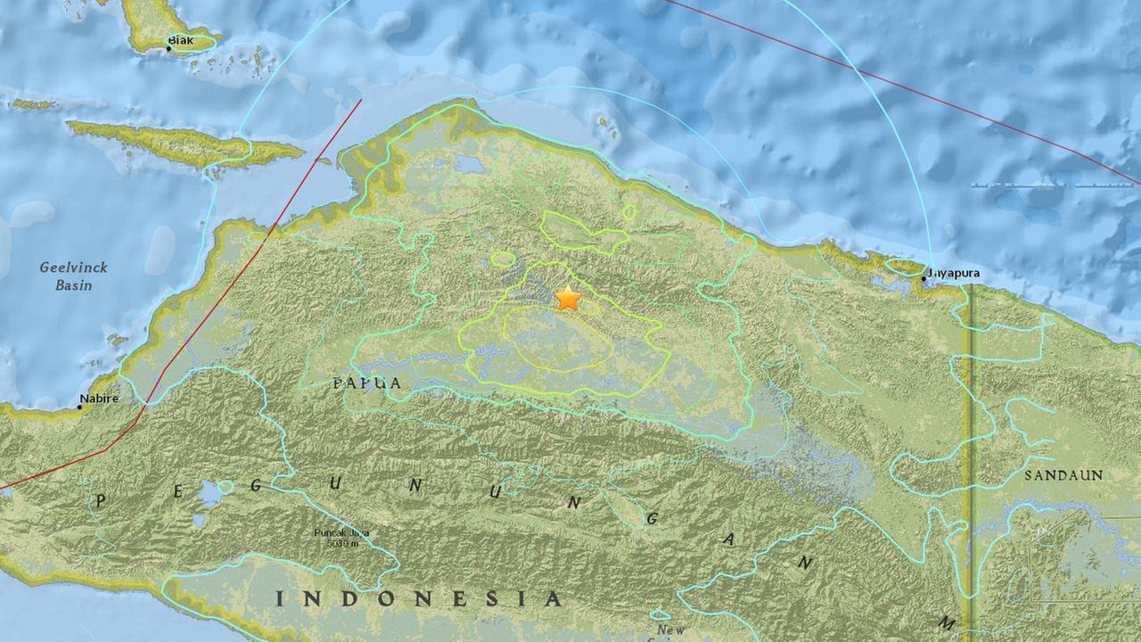A magnitude-7.0 underground quake struck at 6:41 a.m. Tuesday near Indonesias easternmost province of Papua.