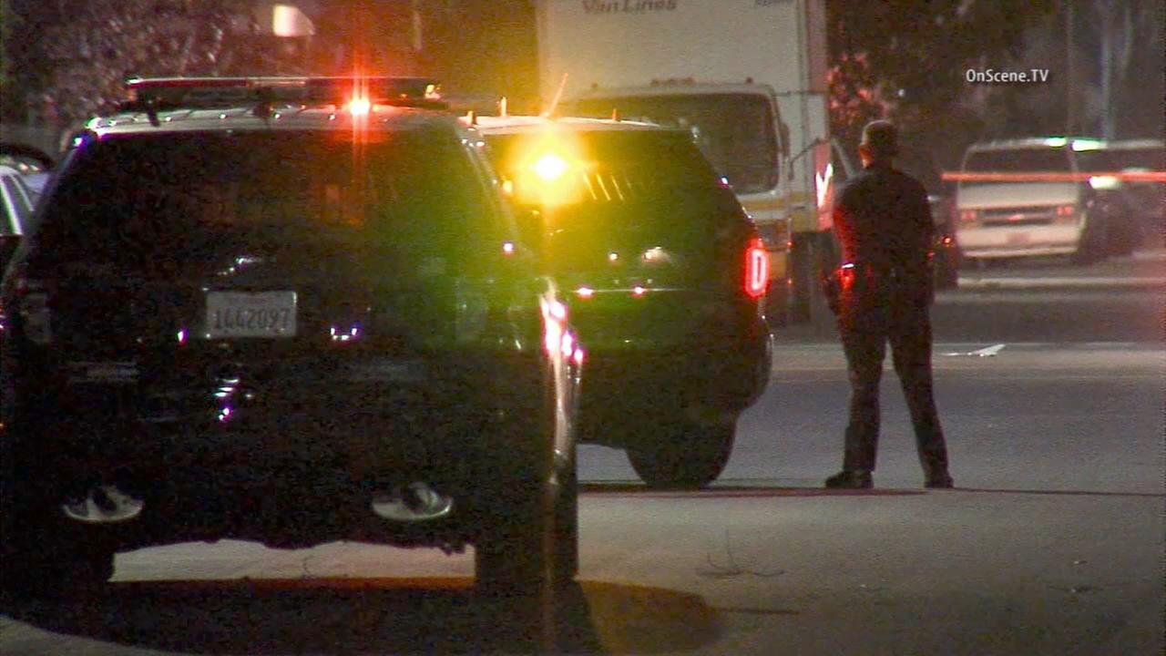 A possibly armed man was barricaded in a home at 68th Street and Estrella Avenue in South Los Angeles on Tuesday, July 28, 2015.
