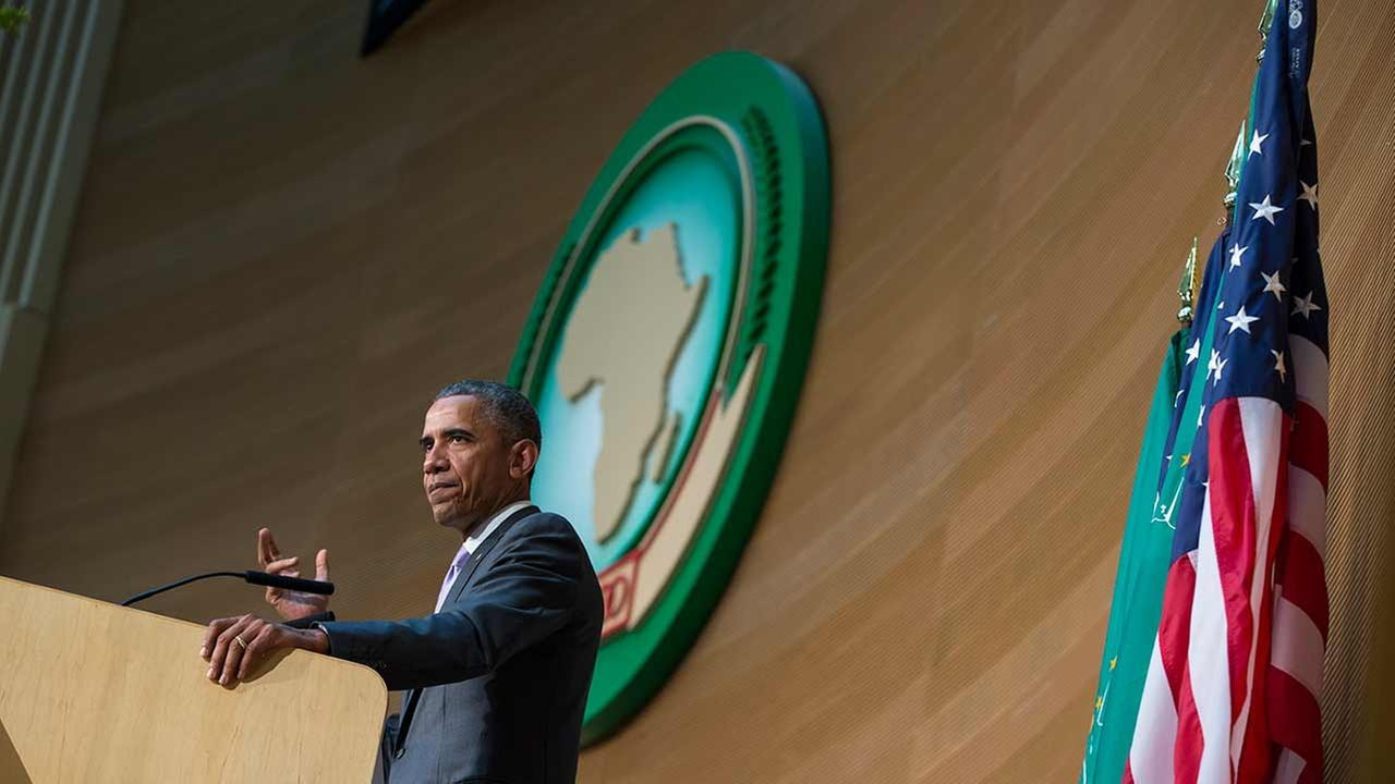 President Barack Obama delivers a speech to the African Union, on Tuesday, July 28, 2015, in Addis Ababa, Ethiopia.