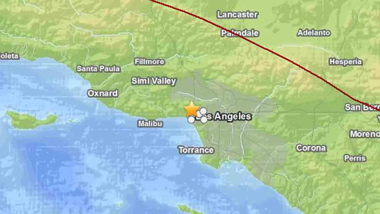 A magnitude-4.2 earthquake struck 3 miles west-northwest of Westwood at 7:36 p.m. Sunday, June 1, 2014.