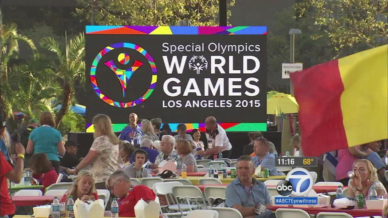 Special Olympics athletes and their families were treated to a special dinner picnic in downtown Los Angeles, courtesy of local farmers and chefs on Tuesday, July 28, 2015.