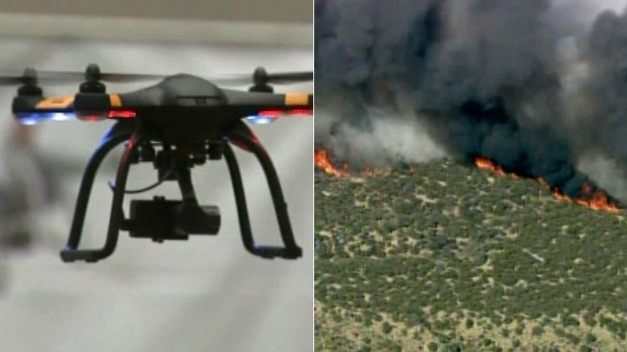 Drones, like the one seen on the left, have forced firefighters to call off water drops at fires, including the North Fire through the Cajon Pass, right.