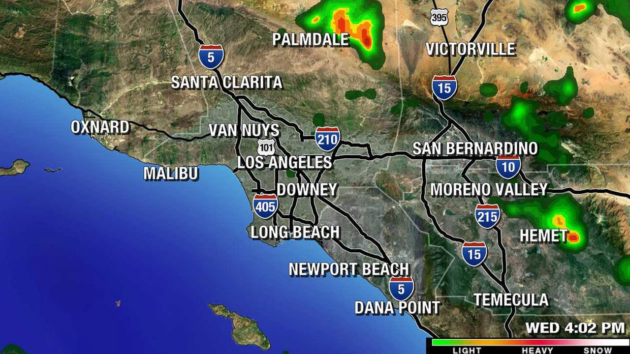An overview of isolated storms hitting parts of the Southland on Wednesday, July 29, 2015.