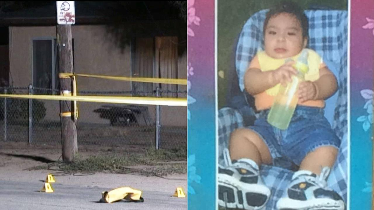 Crime scene tape ropes off the scene of a shooting in Highland, where 4-year-old Daniel Munoz, seen in this baby photo, was shot and killed on Wednesday, July 29, 2015.