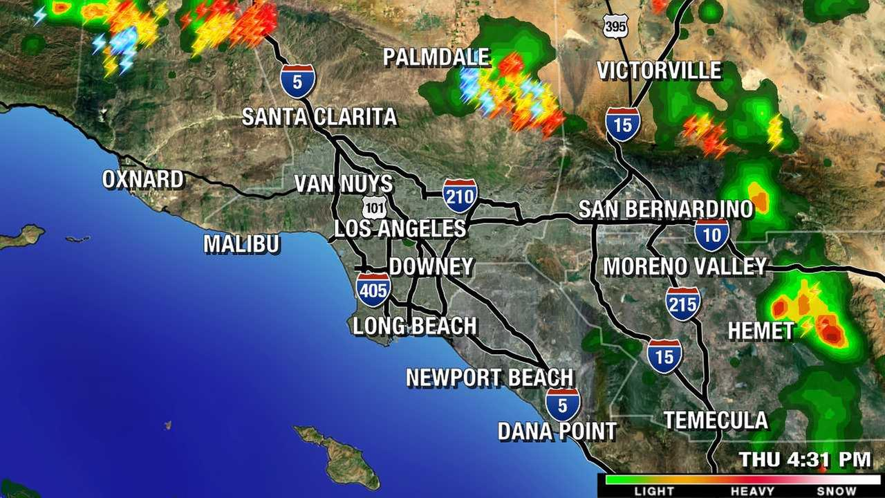 The LIVE MEGADOPPLER 7000HD shows rain cells over parts of Southern California on Thursday, July 30, 2015.