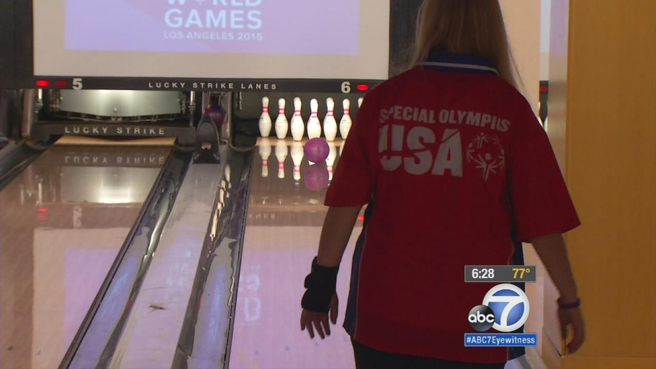 Special Olympics athletes from around the world tried to bowl their way to World Games gold at Lucky Strike bowling alley in downtown Los Angeles.