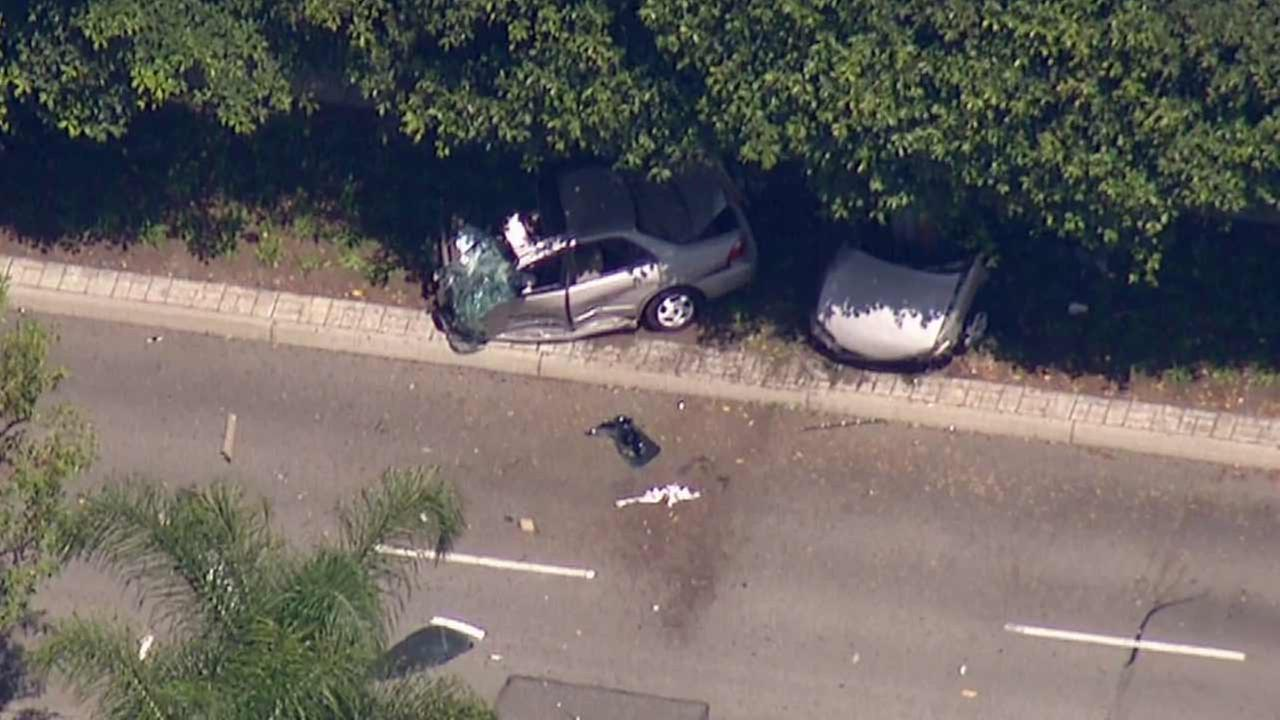 A suspect in a stolen vehicle crashed near Walnut Street and Katella Avenue while fleeing Anaheim police on Friday, July 31, 2015.