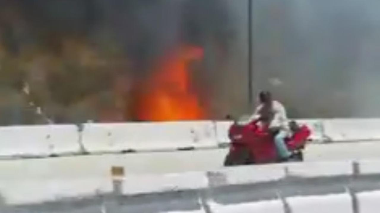 ABC7 viewer Leticia Garcia captured a fire on the northbound 15 Freeway on Saturday, Aug. 1, 2015.