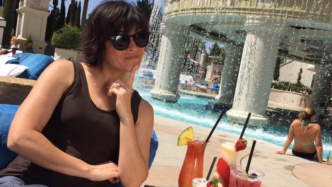 Eye on L.A.s Tina Malave hangs out by a pool at Caesars Palace Hotel and Casino in Las Vegas.