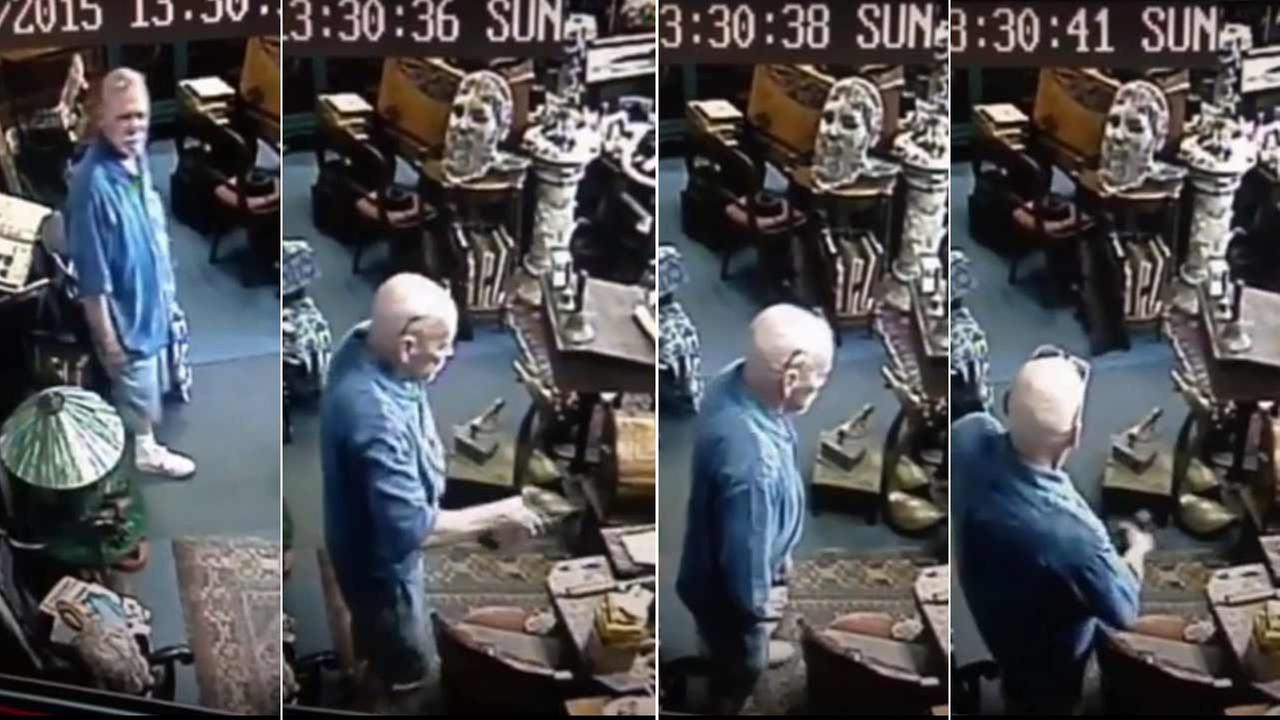 A man was caught on surveillance video stuffing two bronze statues from Ann Tiques in the 6000 block of Magnolia Avenue in Riverside on Sunday, July 26, 2015.