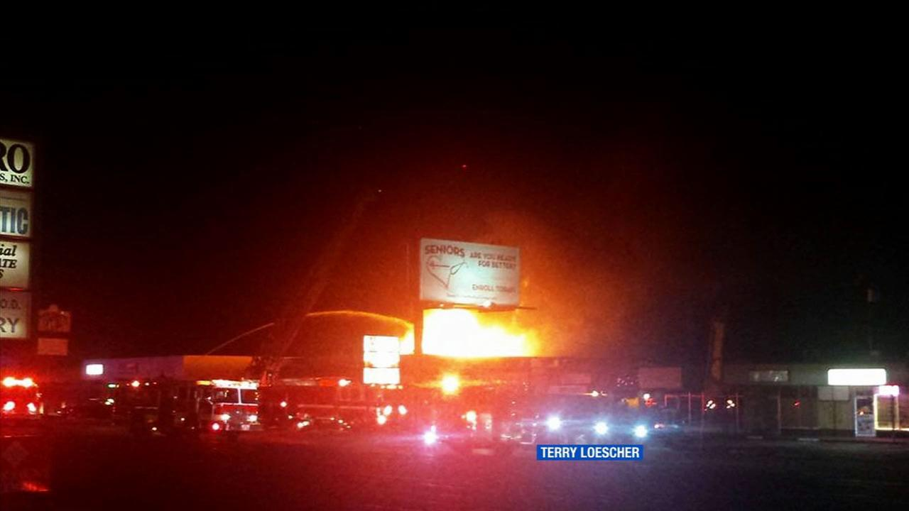ABC7 viewer Terry Loescher shared this photo of the Main Street Pub on fire using #abc7eyewitness on Tuesday, Aug. 4, 2015.