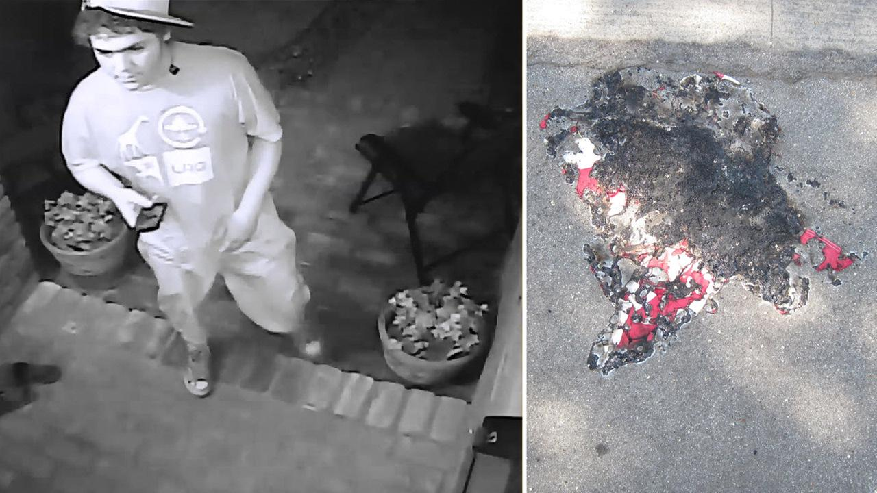 A vandalism suspect, left, is shown in surveillance footage alongside an image of the remnants of a flag he is suspected of burning on Saturday, July 25, 2015.