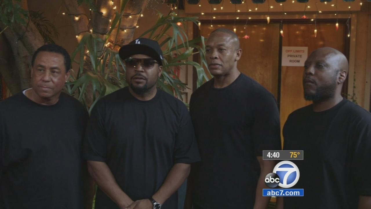 The four surviving members of NWA joined together to tell a story about the beginnings of gangster rap in Straight Outta Compton.