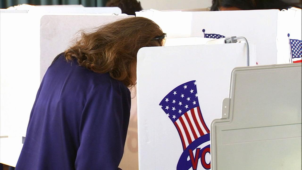 A Los Angeles County voter casts her ballot on Tuesday, June 3, 2014.