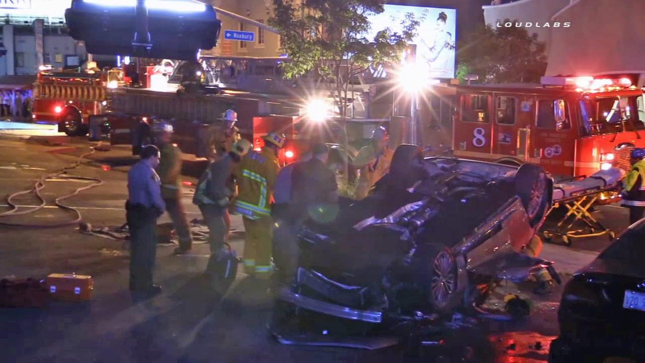 Suv Crashes Lands On Roof At Pink Taco Parking Lot In West