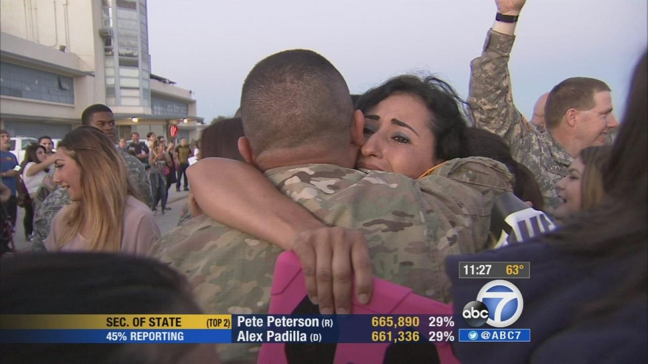 Nearly 100 soldiers with the California Army National Guard returned home Tuesday, June 3, 2014 after a nine-month deployment in Afghanistan.