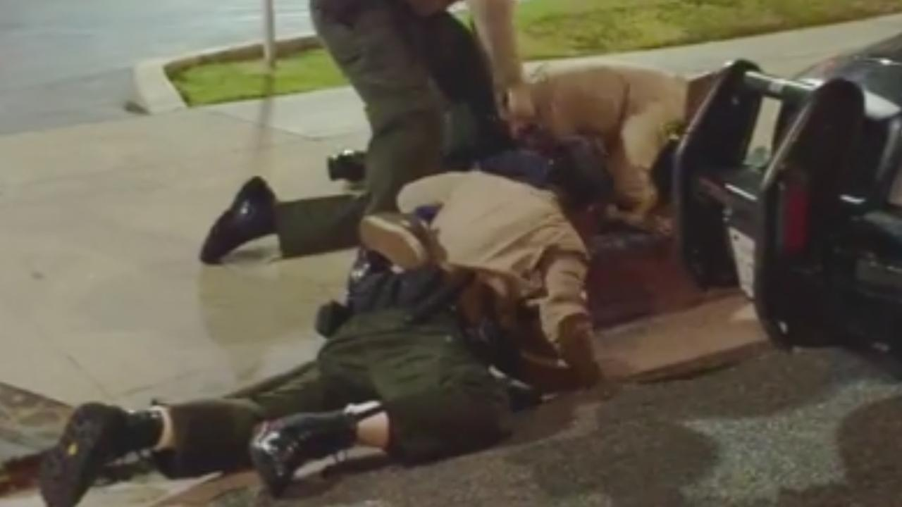 A video captures three deputies taking a man down and beating him in East Los Angeles on Sunday, Aug. 9, 2015.