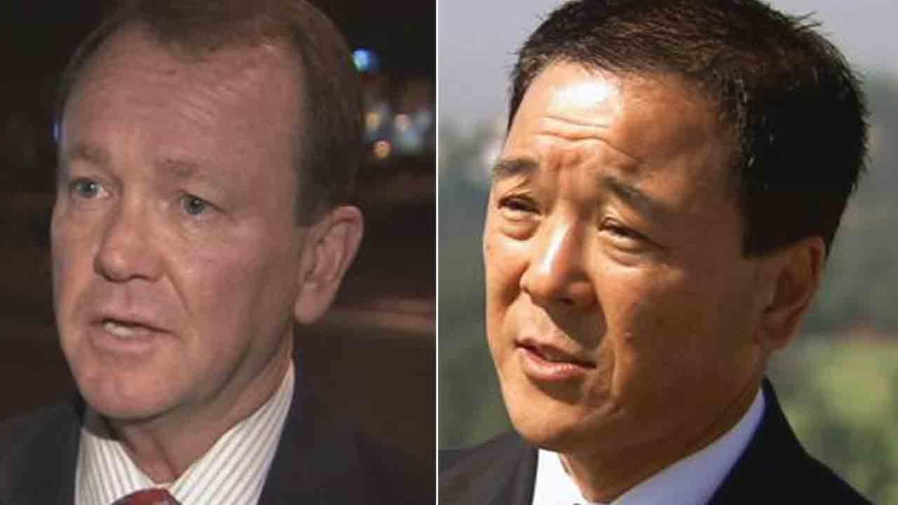 Jim McDonnell (left) will face former undersheriff Paul Tanaka (right) in a runoff in November for LA County sheriff.