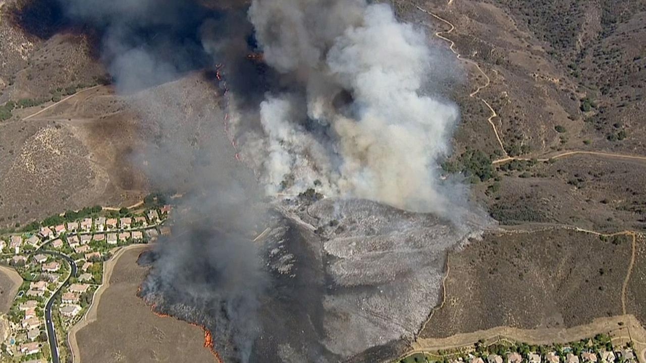 A fire charred acres on a hillside in Simi Valley on Friday, Aug. 14, 2015.