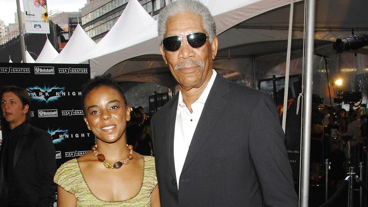 Actor Morgan Freeman and his granddaughter attend the world premiere of The Dark Knight.