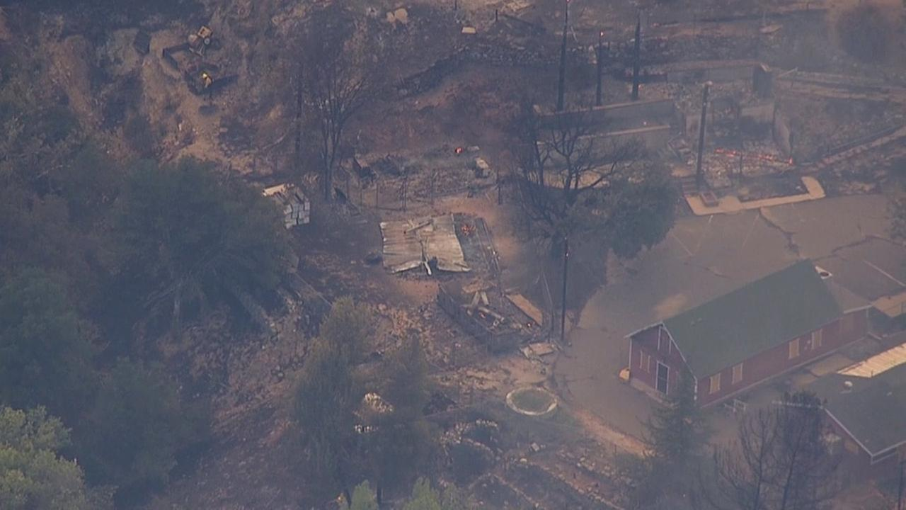 The smoldering ashes of buildings at the Warm Springs Rehabilitation Facility near Castaic are seen in footage from AIR7 HD on Sunday, Aug. 16, 2015.